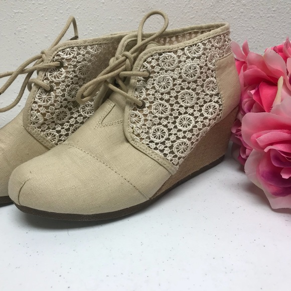 Bobs Wedge Heels Lace And Canvas Size 8